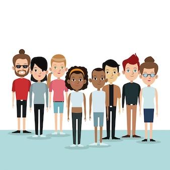 漫画の異なるグループの人々コミュニティ文化時代