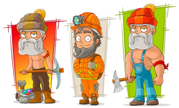 Cartoon digger and lumberjack character set