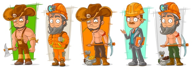 Cartoon digger lumberjack character set