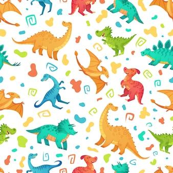 漫画の恐竜のシームレスなパターン。