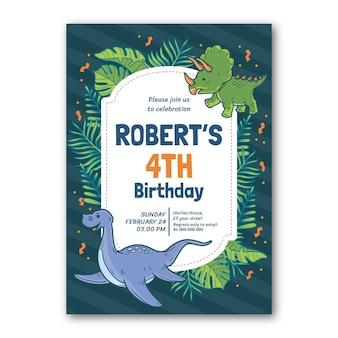 Modello dell'invito di compleanno del dinosauro del fumetto