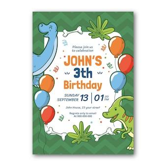 Cartoon dinosaur birthday invitation template