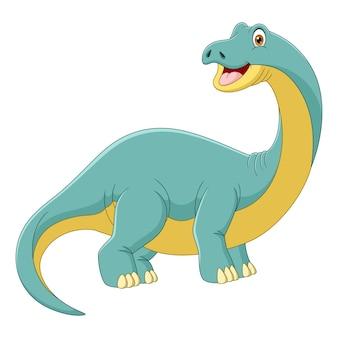 Мультяшный динозавр-бронтозавр смотрит боком на белом фоне
