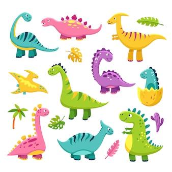 漫画の恐竜。漫画かわいい赤ちゃん恐竜トリケラトプス先史時代の野生動物ブロントサウルス恐竜変な文字