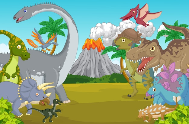 Cartoon dinosaur character with volcano