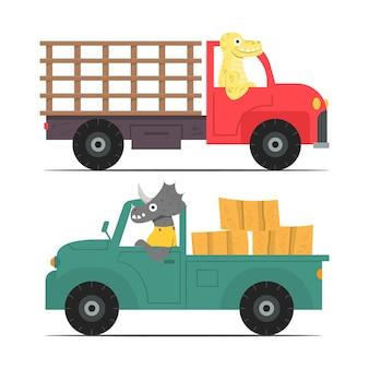 農場の車を運転する漫画の恐竜