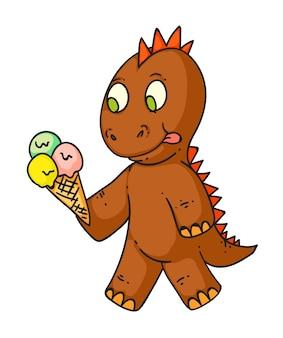 만화 공룡 먹는 아이스크림 흰색 절연