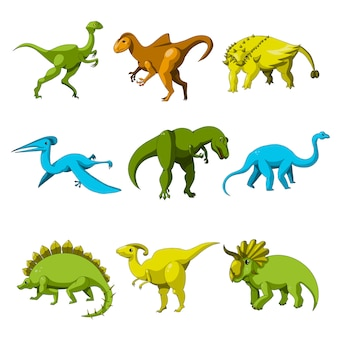 Cartoon dinosaur icon set