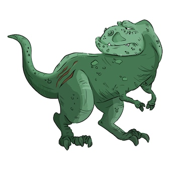 Cartoon dinosaur image. cartoon image of an old cute comic style t-rex dinosaur. tyrannosaurus rex dino hand drawn illustrration