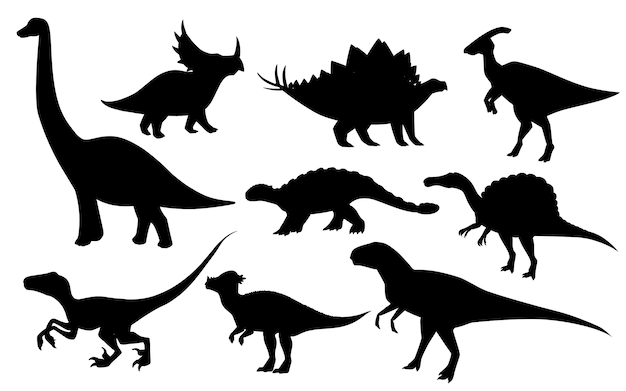 Cartoon dinosaur set black silhouette predators and herbivores
