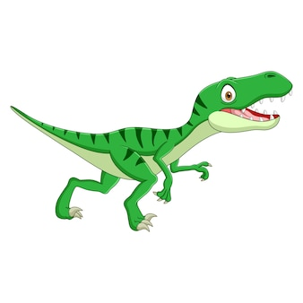 漫画の恐竜ティラノサウルスは白い背景に横向きに見えます