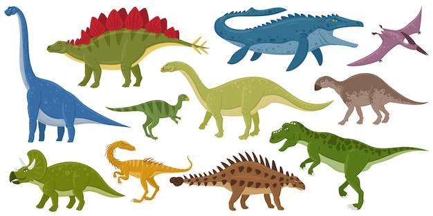 Мультяшные динозавры, анкилозавр, бронтозавр, вымершие хищники стегозавр. набор векторных иллюстраций рептилий юрского периода птеродактиля и тиранозавра. вымершие монстры юрского периода
