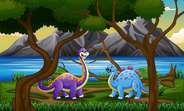 Cartoon dinosaurs at the jungle