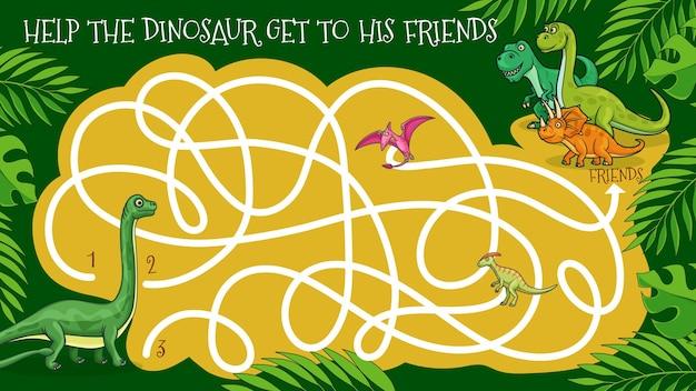 漫画の恐竜の迷路の迷路ゲームや子供のなぞなぞ。ロジックパズル、ゲームまたは教育クイズワークシートテンプレート、恐竜がプテロダクチル、ディプロドクス、ティラノサウルス、トリケラトプスと友達になるのを助けます