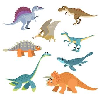 漫画の恐竜セット。フラット面白いスタイルのかわいい恐竜コレクション。捕食者と草食動物の先史時代の野生動物。白い背景で隔離のベクトルイラスト。