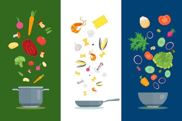 漫画の料理と食材は、キッチン、レストランのフラットなデザインスタイルの料理のコンセプトを設定します