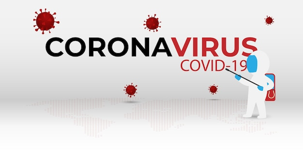 Cartoon disinfection and decontamination on as a prevention against coronavirus