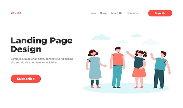 Cartoon diverse children group standing and smiling together landing page. landing page