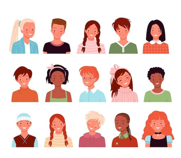 Мультяшные разнообразные милые лица портретов мальчиков и девочек, детские персонажи, изолированные на белом счастливый