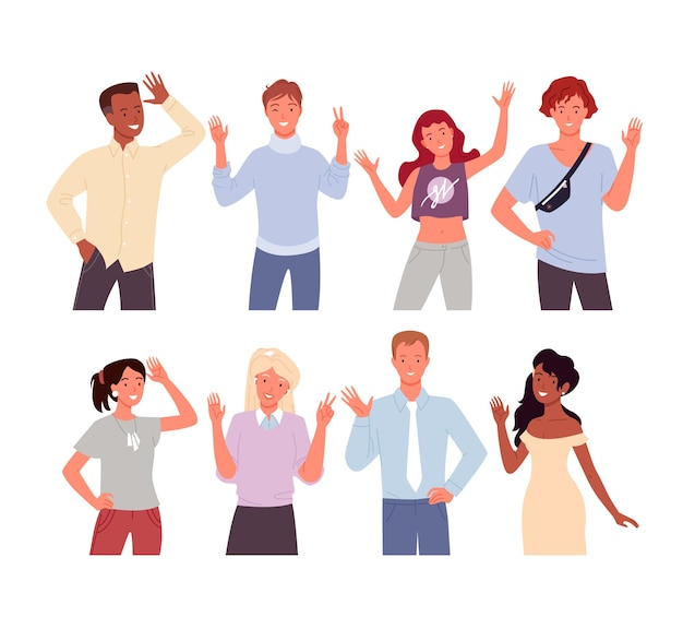 Cartoon diverse happy young man woman characters smiling and standing with welcome gesture