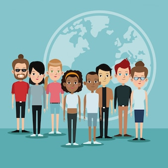 Cartoon diversity group people world languages community