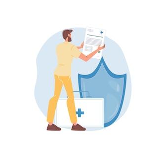 Мультипликационный персонаж доктора в униформе, лабораторном халате и символах - медицинское страхование, концепция лечения и терапии