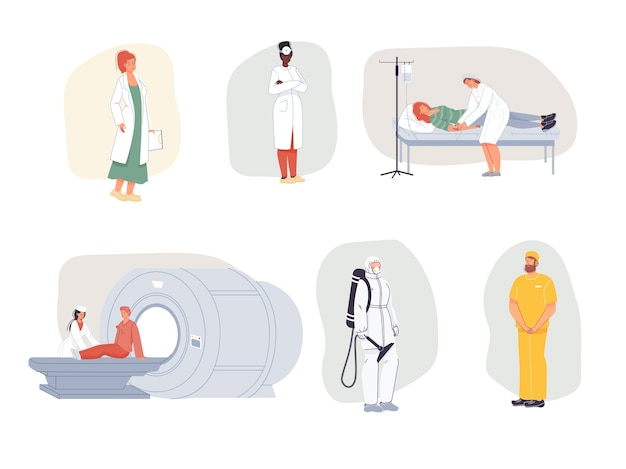 Cartoon  doctor characters in uniform,laboratory coats with medical devices and patients-medic treatment and therapy concept