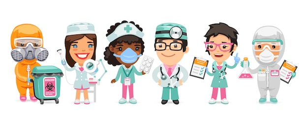Cartoon doctor characters with different specializations