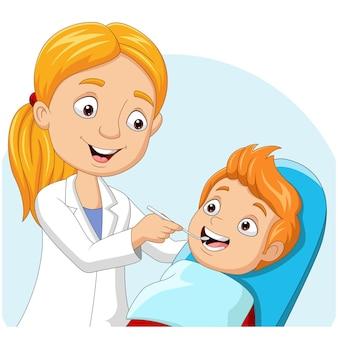 Cartoon doctor dentist checking boy teeth
