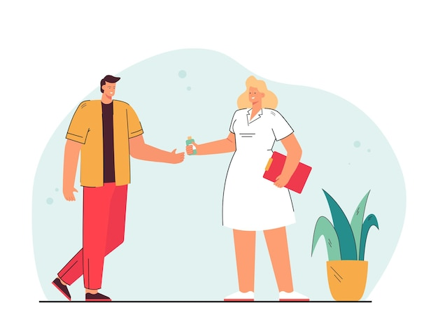 Cartoon doctor giving medicine to man. flat illustration