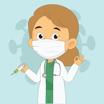 Cartoon doctor holding a vaccine protective with corona covid-19