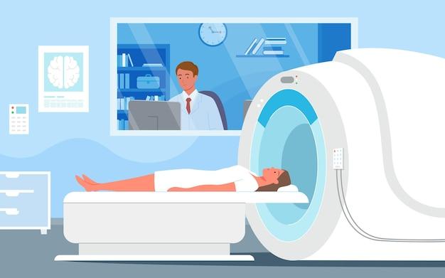 Мультяшный врач-мужчина, глядя на результат диагностики женщины мрт в векторе больницы