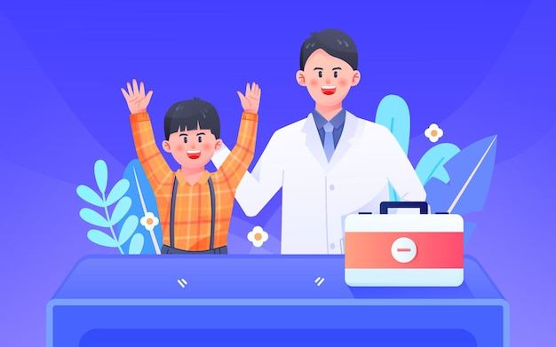 Cartoon doctor medical child cold fever health insurance vector illustration