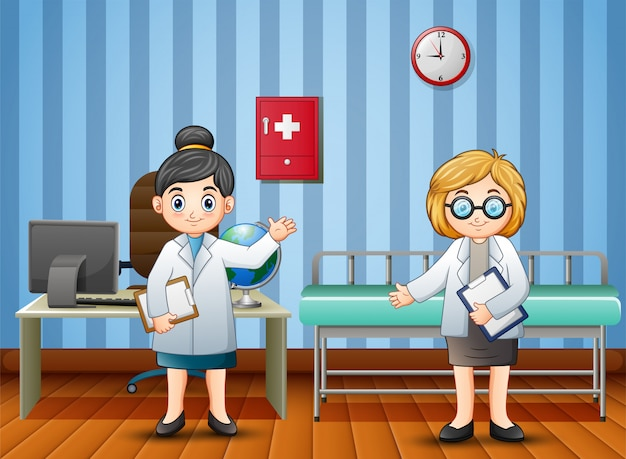 Cartoon doctor and nurse in the hospital