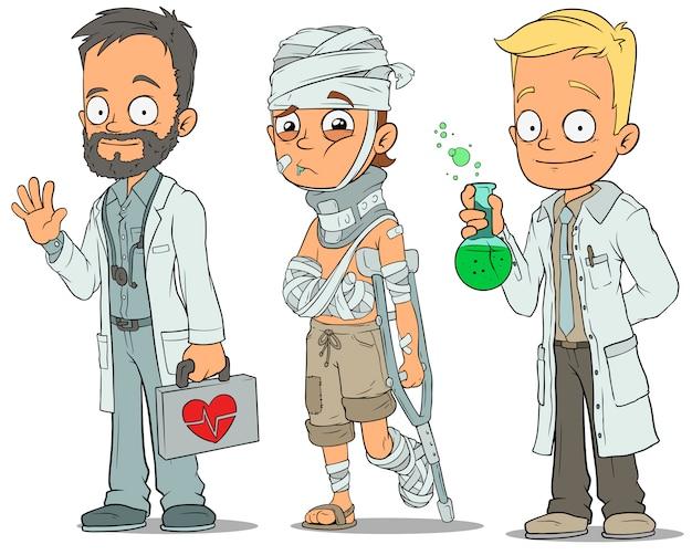 Cartoon doctor patient scientist characters set