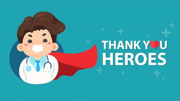 漫画の医者がスーパーヒーローのように赤い布を縛らコロナウイルスから命を救うという概念