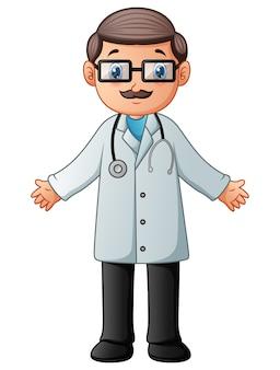 Мультяшный врач в белом халате с стетоскопом