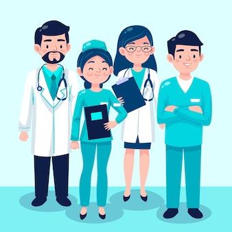Иллюстрация коллекции мультфильм врачей и медсестер