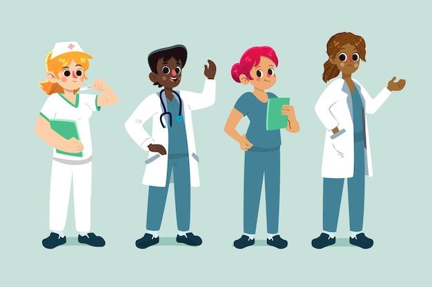 Иллюстрированный мультфильм врачей и медсестер