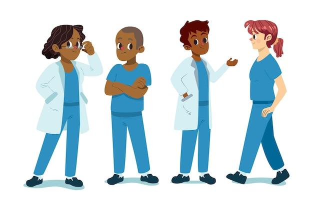 漫画の医師と看護師のイラスト