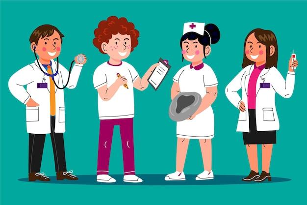Иллюстрации шаржа врачей и медсестер