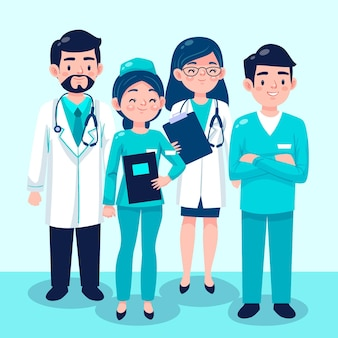 Cartoon doctors and nurses collection illustration
