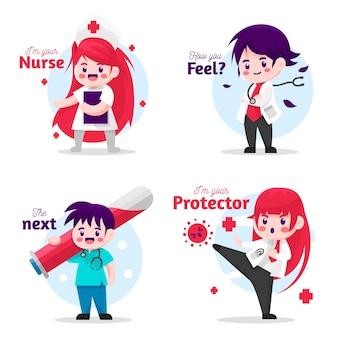 Cartoon doctors and nurses illustrated