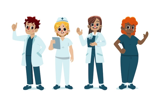 Cartoon medici e infermieri illustrati