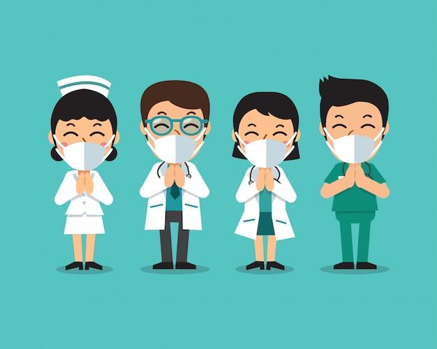 Cartoon doctors and nurses wearing protective masks