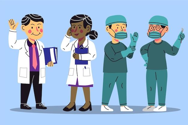 Cartoon doctors and nurses