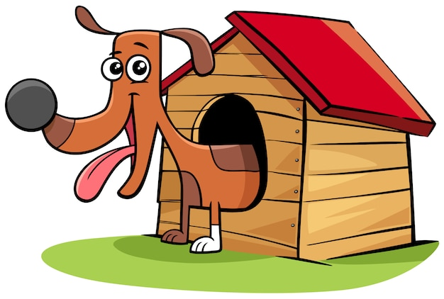 Cartoon dog animal character in his doghouse