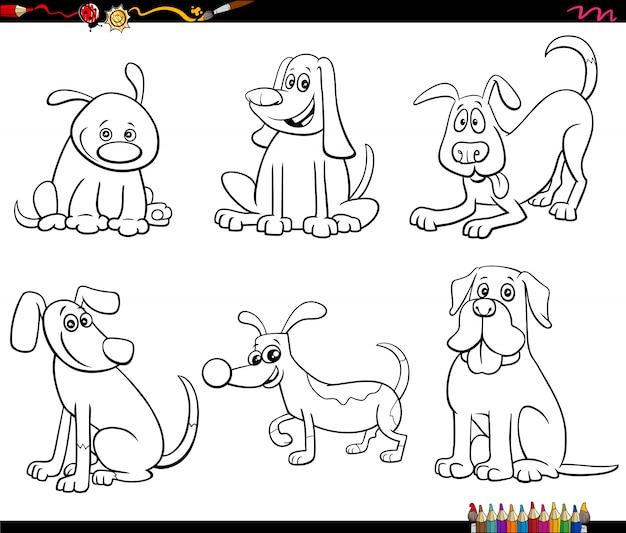 Набор символов мультфильма собака раскраски