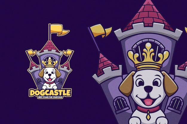 Cartoon dog in front of king castle wearing crown