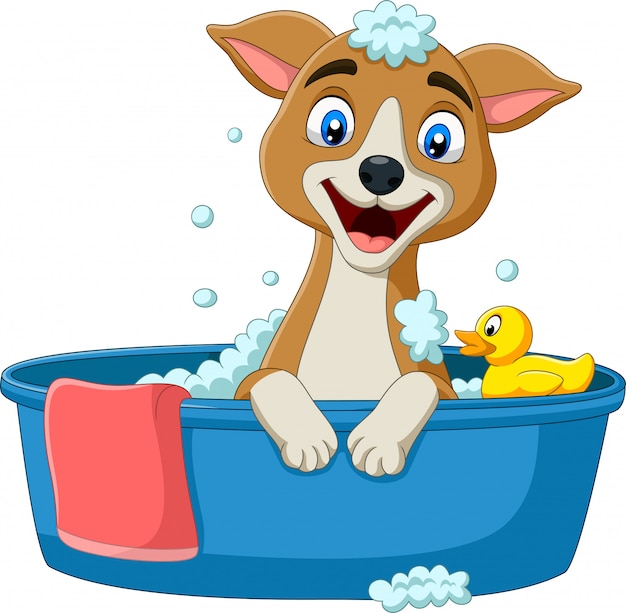 Cartoon dog having a bath